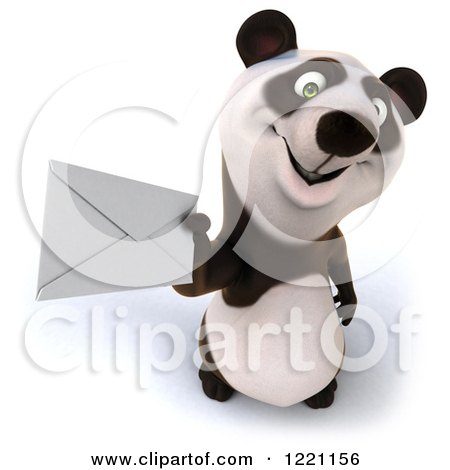 Clipart of a 3d Panda Holding up an Envelope - Royalty Free Illustration by Julos