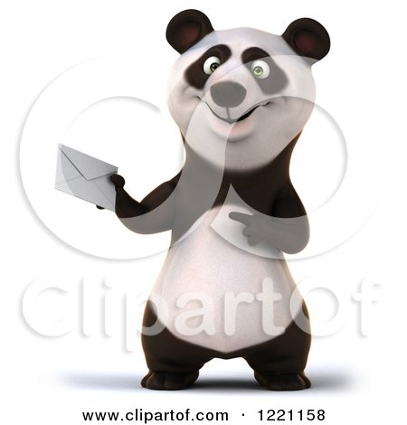 Clipart of a 3d Panda Holding and Pointing to an Envelope - Royalty Free Illustration by Julos