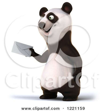 Clipart of a 3d Panda Holding out an Envelope - Royalty Free Illustration by Julos