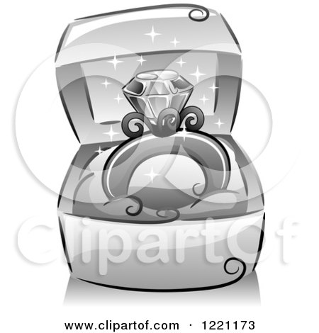 Clipart of a Grayscale Sparkly Diamond Ring in a Box - Royalty Free Vector Illustration by BNP Design Studio