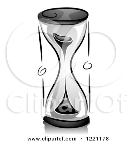 Clipart of a Grayscale Hourglass - Royalty Free Vector Illustration by BNP Design Studio