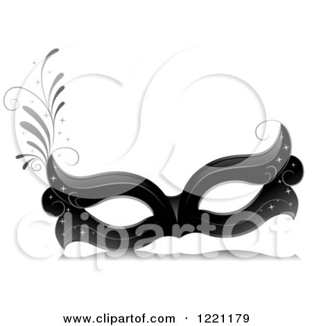 Clipart of a Grayscale Carnival Eye Face Mask - Royalty Free Vector Illustration by BNP Design Studio