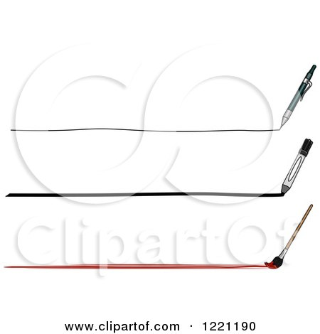 Clipart of a Mechanical Pencil Marker and Paintbrush with Lines - Royalty Free Vector Illustration by BNP Design Studio