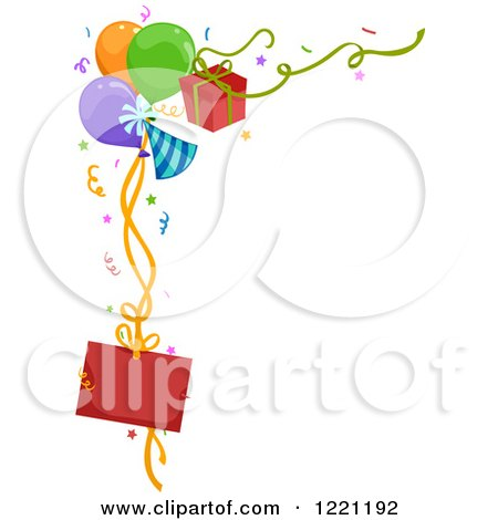Clipart of a Corner Border of Party Balloons Gifts and a Sign - Royalty Free Vector Illustration by BNP Design Studio