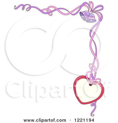 Clipart of a Corner Wedding Border of Ribbons Bells and a Heart Tag - Royalty Free Vector Illustration by BNP Design Studio