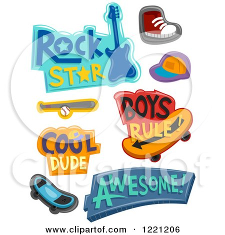 Clipart of Boys Designs and Items - Royalty Free Vector Illustration by BNP Design Studio