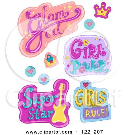 Clipart of Girls Designs and Items - Royalty Free Vector Illustration by BNP Design Studio