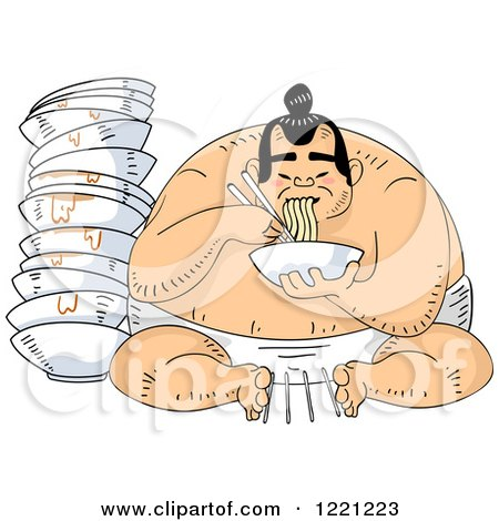 Clipart of a Hungry Sumo Wrestler Eating Ramen Noodles - Royalty Free Vector Illustration by BNP Design Studio