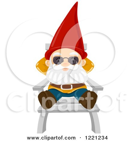 Clipart of a Garden Gnome Relaxing on a Chair - Royalty Free Vector Illustration by BNP Design Studio