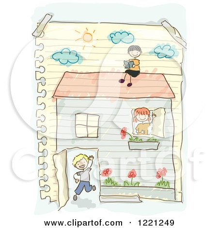 Clipart of a Doodle of Children Playing in a House Drawn on Ruled Paper - Royalty Free Vector Illustration by BNP Design Studio
