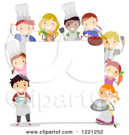 Clipart of Diverse Culinary Chef Children Around a Sign Board - Royalty Free Vector Illustration by BNP Design Studio