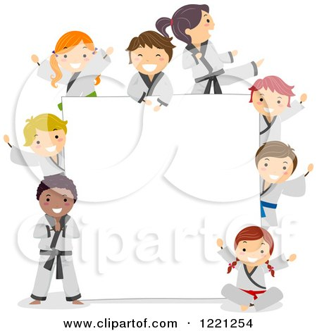 Clipart of Diverse Karate Children Around a Sign Board - Royalty Free Vector Illustration by BNP Design Studio