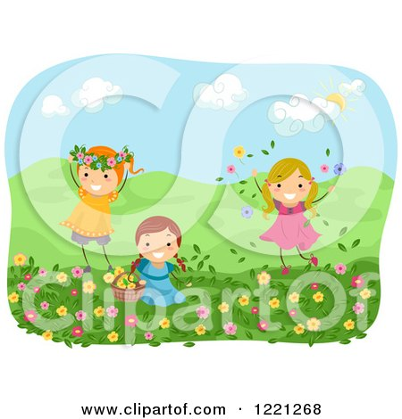 Clipart of Happy Girls Playing with Flowers in a Meadow - Royalty Free Vector Illustration by BNP Design Studio