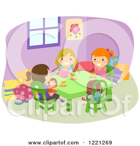 Clipart of Girls Playing Tea Party - Royalty Free Vector Illustration by BNP Design Studio
