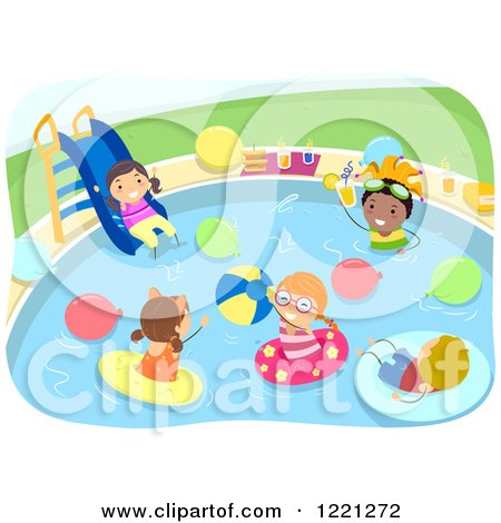 Clipart of Diverse Kids at a Pool Party - Royalty Free Vector Illustration by BNP Design Studio