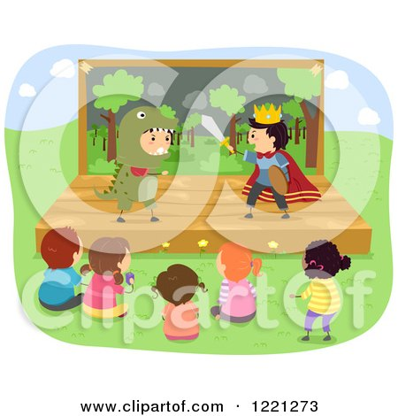 Clipart of Diverse Children Watching a Prince and Dinosaur Play - Royalty Free Vector Illustration by BNP Design Studio