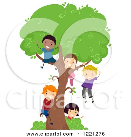Clipart of Diverse Children Playing on a Tree - Royalty Free Vector Illustration by BNP Design Studio