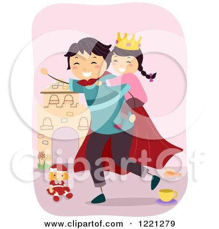 Clipart of a Super Dad Giving His Princess Daughter a Piggy Back Ride - Royalty Free Vector Illustration by BNP Design Studio