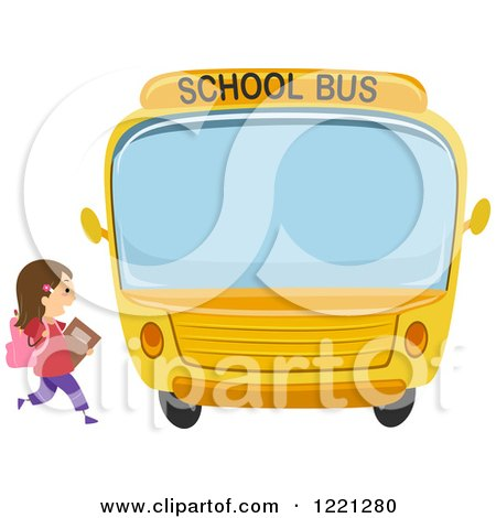 Clipart of a School Girl Running to a Bus - Royalty Free Vector Illustration by BNP Design Studio