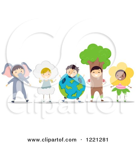 Clipart of Diverse Children in Animal and Nature Costumes - Royalty Free Vector Illustration by BNP Design Studio