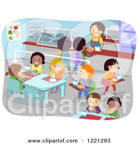 Clipart of a School Cafeteria Full of Children - Royalty Free Vector Illustration by BNP Design Studio