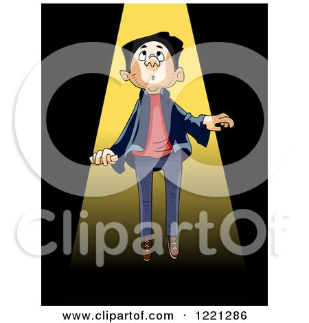 Clipart of a Man Being Sucked up by an Alien Beam - Royalty Free Vector Illustration by BNP Design Studio