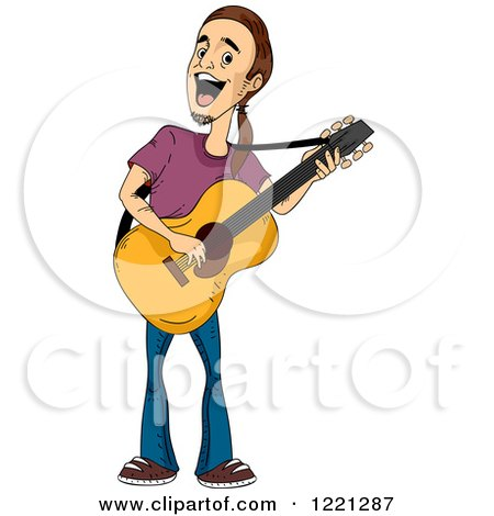 Clipart of a Man Playing a Guitar and Singing - Royalty Free Vector Illustration by BNP Design Studio