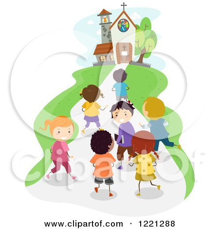 Clipart of Diverse School Children Approaching a Church - Royalty Free Vector Illustration by BNP Design Studio