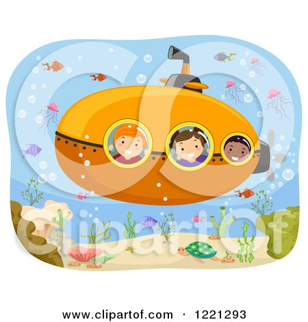 Clipart of Diverse Children on a Submarine Ride - Royalty Free Vector Illustration by BNP Design Studio