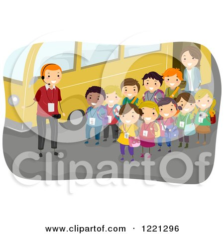 Clipart of a Tour Guide and Children by a Bus on a Field Trip - Royalty Free Vector Illustration by BNP Design Studio