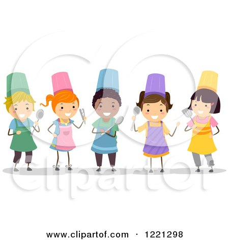 Clipart of Diverse Stick Children in Chef Aprons and Hats - Royalty Free Vector Illustration by BNP Design Studio