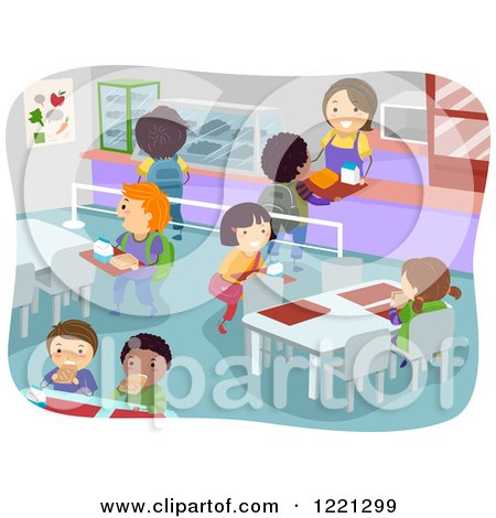 Clipart of a School Cafeteria Full of Hungry Children - Royalty Free Vector Illustration by BNP Design Studio