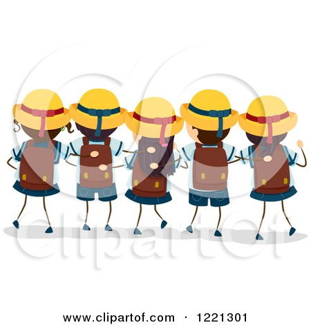 Clipart of a Rear View of Japanese School Boys and Girls in Uniforms - Royalty Free Vector Illustration by BNP Design Studio