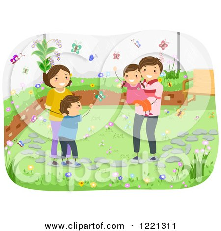 Clipart of a Happy Family Watching Butterflies in Their Garden - Royalty Free Vector Illustration by BNP Design Studio