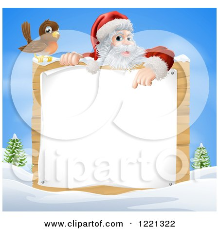 Clipart of a Bird by Santa Pointing Down at a Wood Sign in a Winter Landscape - Royalty Free Vector Illustration by AtStockIllustration
