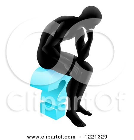 Clipart of a Black Silhoeutted Man Thinking on a Blue Question Mark - Royalty Free Vector Illustration by AtStockIllustration