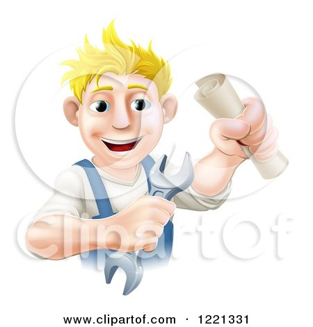 Clipart of a Happy Worker Man Holding a Wrench and Degree - Royalty Free Vector Illustration by AtStockIllustration
