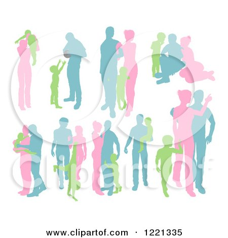 Clipart of Green Pink and Blue Silhouetted Parents with Young Children - Royalty Free Vector Illustration by AtStockIllustration