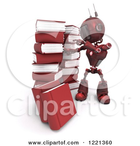 Clipart of a 3d Red Android Robot with Stacks of Books - Royalty Free Illustration by KJ Pargeter