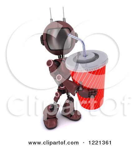 Clipart of a 3d Red Android Robot with a Giant Fountain Soda - Royalty Free Illustration by KJ Pargeter