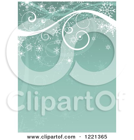Clipart of a Retro Green Christmas or Winter Background of Swirls and Snowflakes - Royalty Free Vector Illustration by KJ Pargeter