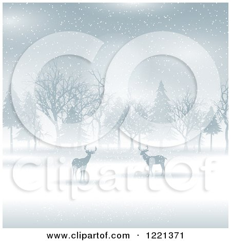 Clipart of Silhouetted Deer and Trees in the Snow - Royalty Free Vector Illustration by KJ Pargeter
