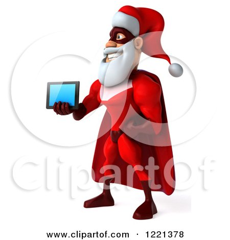 3d Super Hero Santa Holding out a Tablet Computer 3 Posters, Art Prints