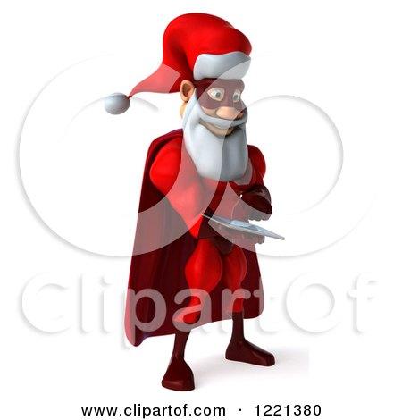 3d Super Hero Santa Using a Tablet Computer 2 Posters, Art Prints