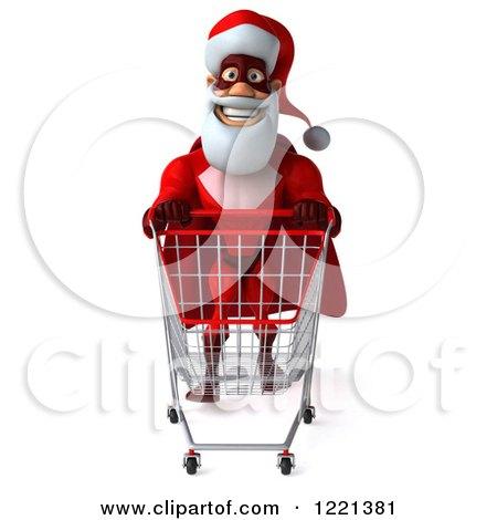 Clipart of a 3d Super Hero Santa Pushing a Shopping Cart 3 - Royalty Free Illustration by Julos