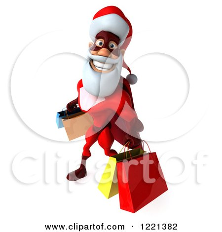 Clipart of a 3d Super Hero Santa Carrying Shopping Bags 3 - Royalty Free Illustration by Julos