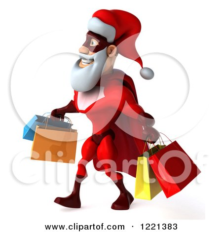 Clipart of a 3d Super Hero Santa Carrying Shopping Bags 4 - Royalty Free Illustration by Julos