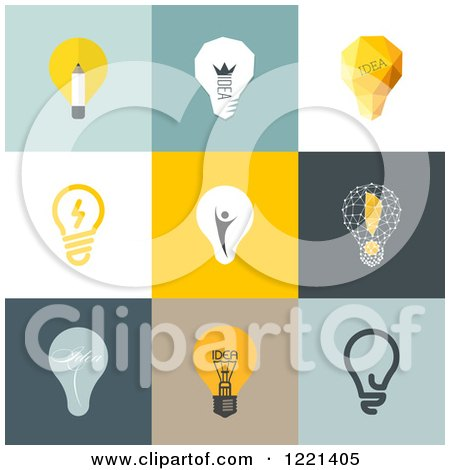 Clipart of Retro Idea Light Bulbs on Different Backgrounds - Royalty Free Vector Illustration by elena