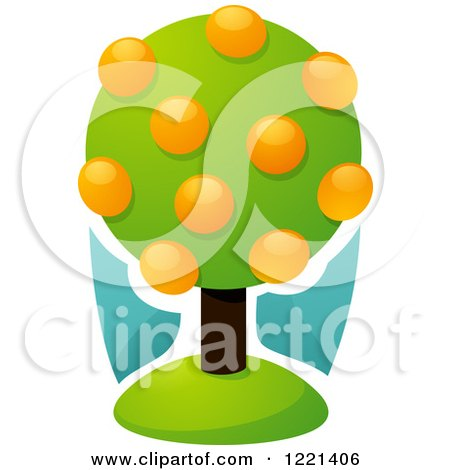 Clipart of a Lush Orange Tree with Fruits - Royalty Free Vector Illustration by elena