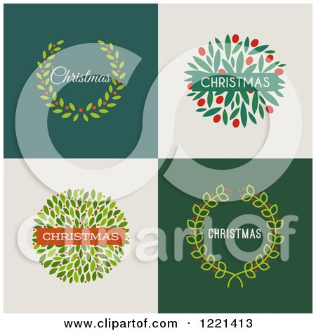 Clipart of Christmas Wreaths with Text on Different Backgrounds - Royalty Free Vector Illustration by elena